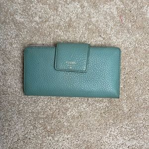 Fossil Blue Leather Bifold Wallet